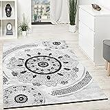 Paco Home Alfombra De Diseño con Hilo Brillante Motivos Clásicos Negro Antracita Blanco, tamaño:120x160 cm