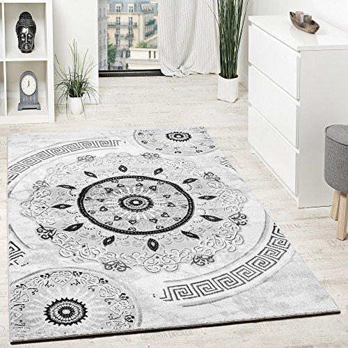 Paco Home Tapis Design avec Fil Brillant Motifs Classique Ornements Gris Noir Anthracite, Dimension:80x150 cm