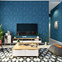 はがせる壁紙,モダンなシンプルな無地の壁紙 寝室のリビングルームの背景の壁の家の壁紙 53X1000CM-ダークグレーブルー