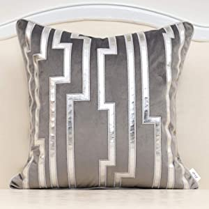 Alerfa 20 x 20 Inches Gray Geometric Silver Leather Striped Cushion Cases Luxury European Throw Pillow Covers Decorative Pillows for Couch Living Room Bedroom Car 50 x 50cm