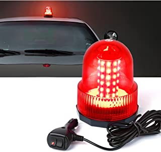 Xprite Super Bright Red Rotating Revolving LED Beacon Strobe Light,with Magnetic Mount, 60LEDs 15W Emergency Warning Caution Flashing Light for Snow Plow Truck UTV 12v Vehicle