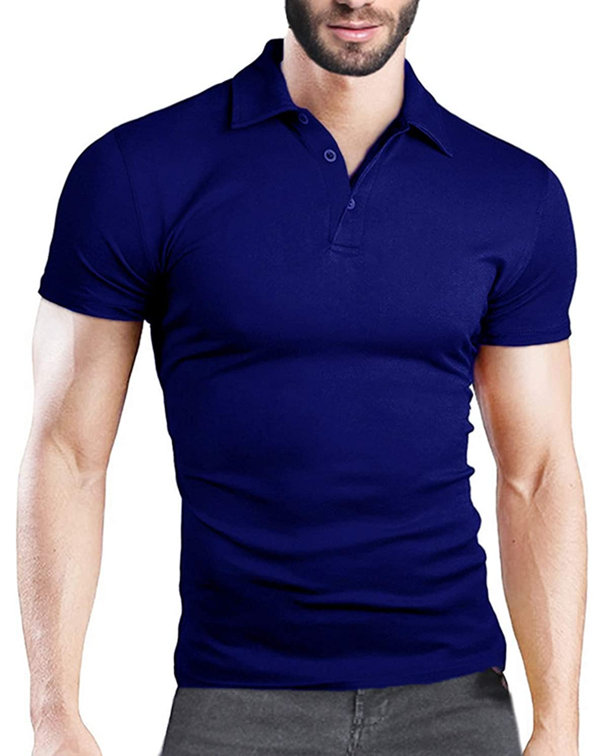 MODCHOK Men's Poloshirt Short Sleeve Collar T Shirts Cotton Tee Button Casual Slim Fit Tops