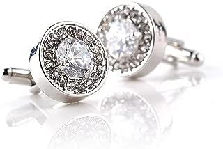 Bullidea 1 Pair Fashion Diamond Cufflinks Cuff Links Womens Mens Dress Business Wedding Cufflinks Gift Present(White)