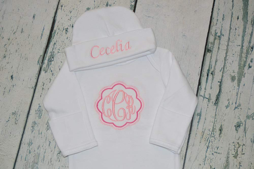 Personalized Newborn All items free shipping Baby Genuine Gown and Monogram Hat Set ha gown