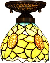 Tiffany Style Ceiling Light,Stained Glass Sun Flower Shade Flush Mount Ceiling Lamp,Vintage Ceiling Lighting Fixtures for ...