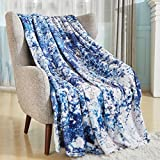 Bobor Super Soft Tie-dye Decorative Blanket for Couch Bed, Flannel Fleece Abstract Throw Blanket, Fluffy, Plush, Cozy, Warm Blankets for Outdoor, Indoor, Camping, Gifts (Blue, 51'x59')