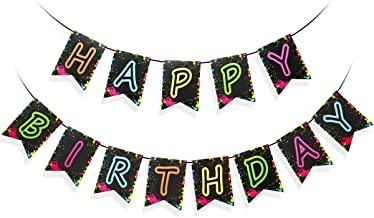 Glow Party Happy Birthday Banner Decoration(Pre-Assembled, Glow Party Decorations, Birthday Party Letter Banner Supplies