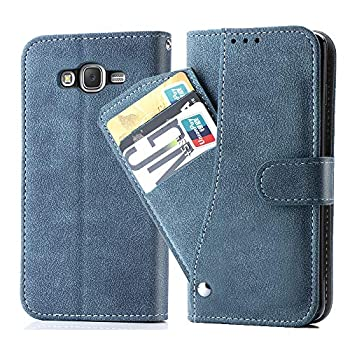 Compatible with Samsung Galaxy J7 2015/J7 Neo/J7 Nxt/J7 Core/7J Duos Wallet Case Flip Cover Credit Card Holder Stand Cell Accessories Phone Cases for SM J700 J700P J700T J00T1 J700M Women Men Blue