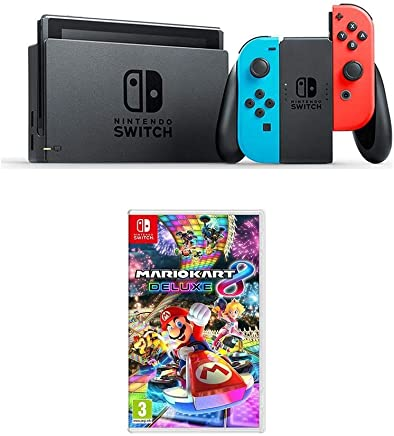 Nintendo Switch Neon Blue + Mario Kart 8