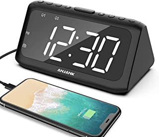 ANJANK Digital Alarm Clock Radio, Dual Alarms with 8 Sounds, Adjustable Volume, USB Charging Ports, FM Radio Sleep Timer, 5 Level Brightness Dimmer, Large LED Display Clock for Bedroom