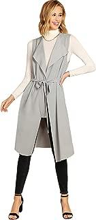 Women's Casual Lapel Open Front Sleeveless Vest Cardigan Blazer with Belt Jacket