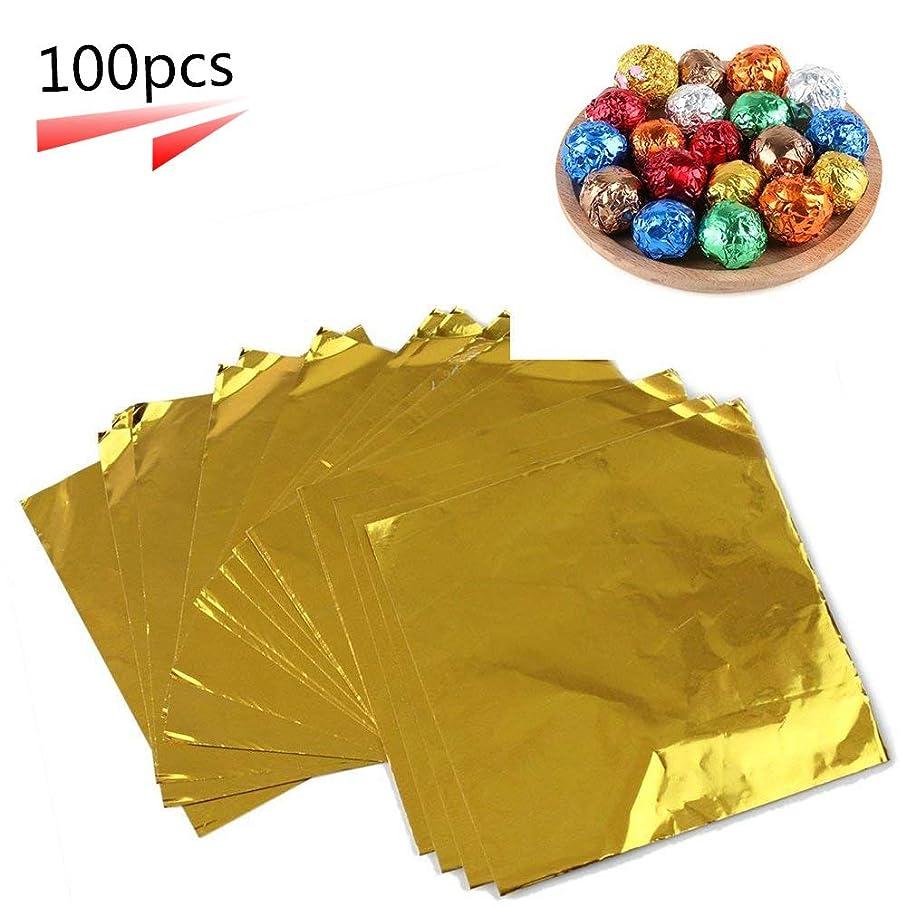 コメンテーター気絶させるキャプテンフォイルラッパー 包装用品 包み紙 箔紙 キャンディ チョコレート 箔紙 お菓子 DIY 手作り クラフト 約100枚入り (10×10cm ゴールド)