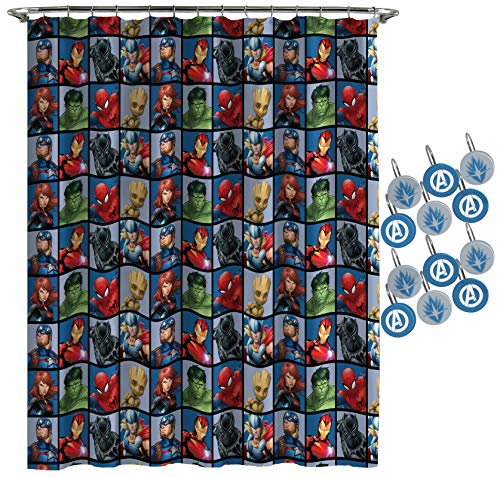 Marvel Avengers Team Shower Curtain & 12-Piece Hook Set & Easy Use (Official Marvel Product)