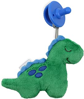 Itzy Ritzy Pacifier and Lovey Set; Detachable Plush Dinosaur and Coordinating Blue Silicone Pacifier; Ideal For Ages 0 Mon...