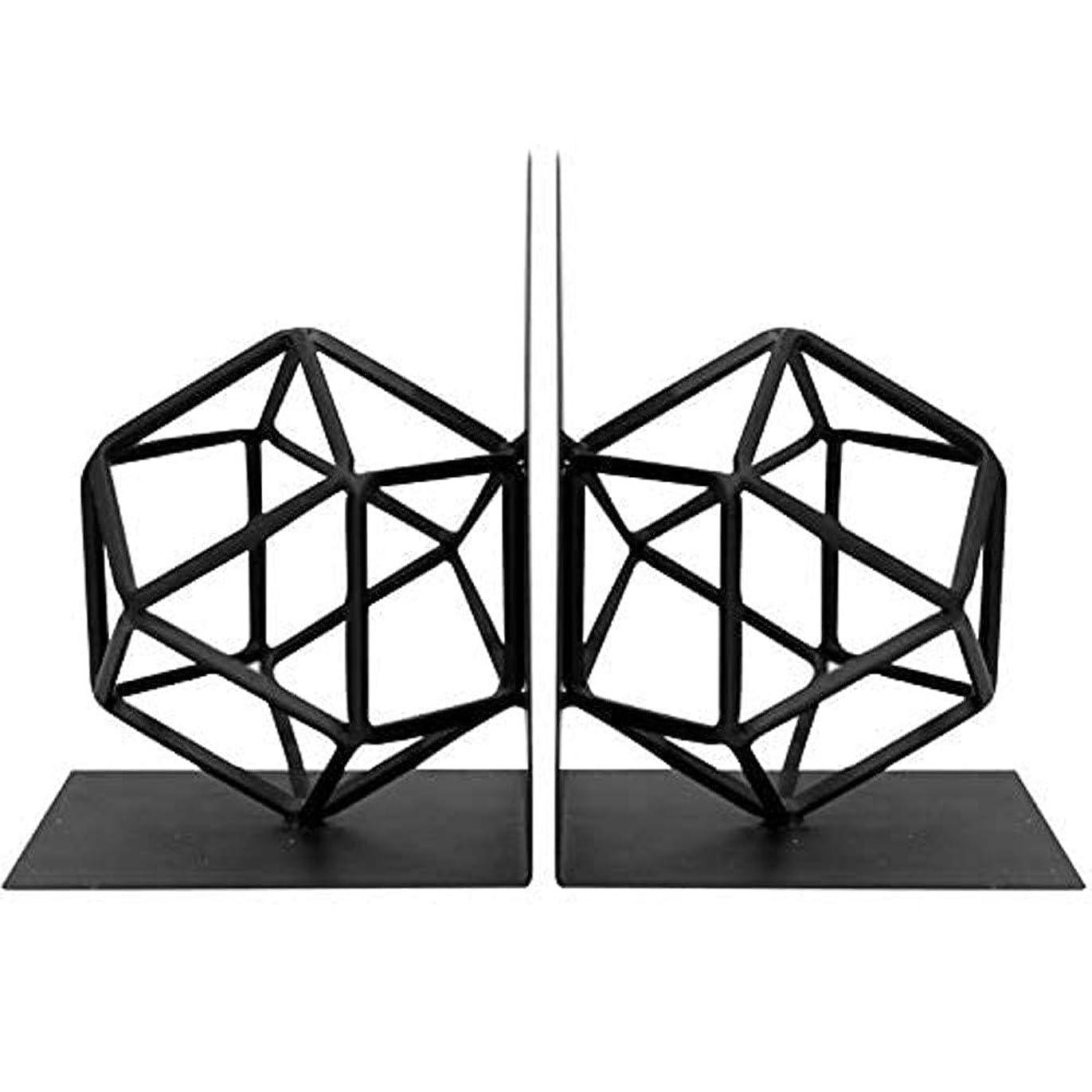 集める頻繁にスプリットブックエンド装飾的で創造的な幾何学的なブックスタンドメタルブラックヘビーデューティー、デスクトップシェルフ、ストッパー、ホーム、オフィス用ブックオーガナイザー
