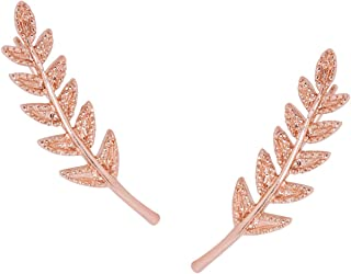 Humble Chic Tiny Leaf Ear Climbers - Delicate Crawler Cuff Stud Jacket Earrings for Women