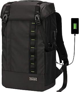 [Morpilot]リュックメンズ リュックサック バックパック 35L大容量 防水 多機能 スクエアリュック 15.6インチ PC ビジネス ラップトップバック USB充電ポート付き A4収納 RFID機能 35Lアウトドア 通勤 修学 旅行 ブラック