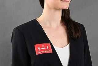 AVERY - Lot de 20 Badges Adhésifs Pré-Imprimés - Rectangulaire - Rouge - Distanciation Sociale
