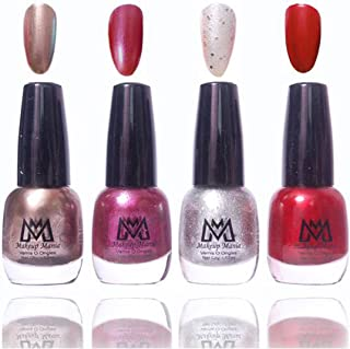 Makeup Mania Premium Nail Polish Exclusive Nail Paint Combo (Grey Silver, Purple, Red, Pack of 4)