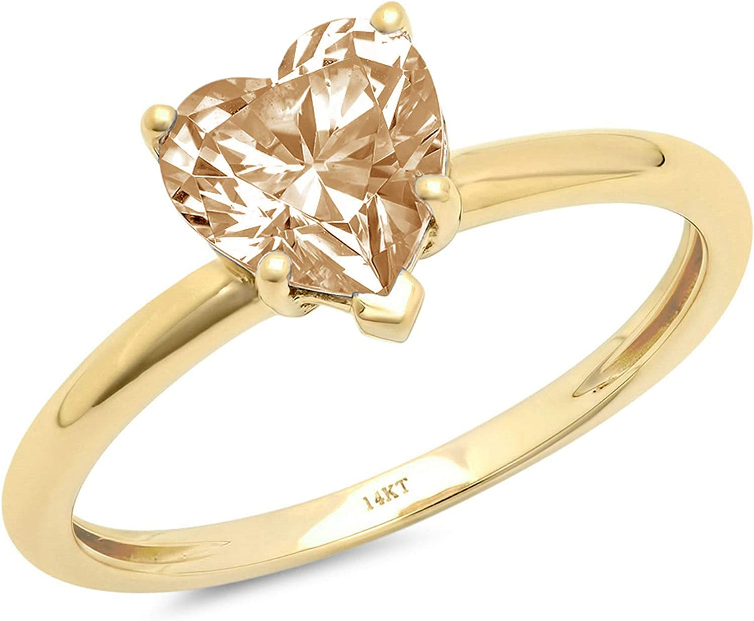 1.0 ct Brilliant Heart Cut Solitaire Flawless Stunning Yellow Moissanite Ideal 5-Prong Engagement Wedding Bridal Promise Anniversary Designer Ring Solid 18K Yellow Gold for Women