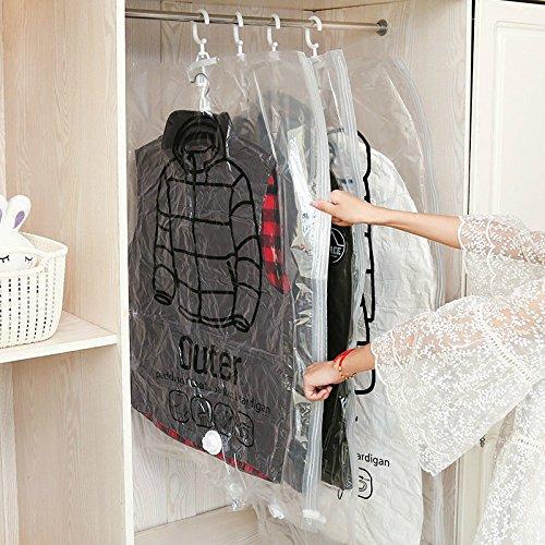 Appendere sacchetti salvaspazio sottovuoto -2pcs per risparmiare spazio, traslochi e viaggi, 80% + Compression, funziona con qualsiasi aspirapolvere, plastica, 67x110cm