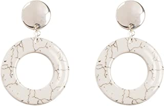 White Silver Tone Acrylic Ring Statement Earrings