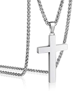 P. BLAKE Stainless Steel Cross Pendant Necklace for Men Boys Jewelry Gift, Chain Necklace 24 Inch