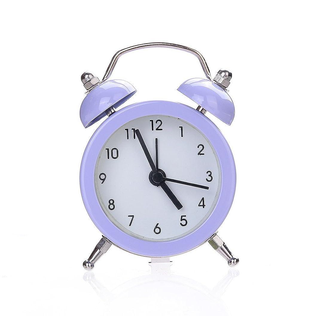 批評公平なオーロックダブルベルサイレント合金ステンレススチールメタル目覚まし時計、ポケットミニメタルデジタル小さな目覚まし時計学生ホームソリッドカラー目覚まし時計 (パープル)