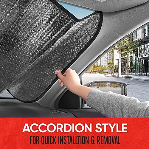 Motor Trend Front Windshield Sun Shade - Accordion Folding Auto Sunshade for Car Truck SUV - Blocks UV Rays Sun Visor Protector - Keeps Your Vehicle Cool - 58 x 24 Inch (Black)