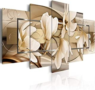 Brown Flower Canvas Wall Art Giclee Prints Artwork 5 Panel Modern Floral Painting Pictures for Bedroom Framed and Ready to Hang