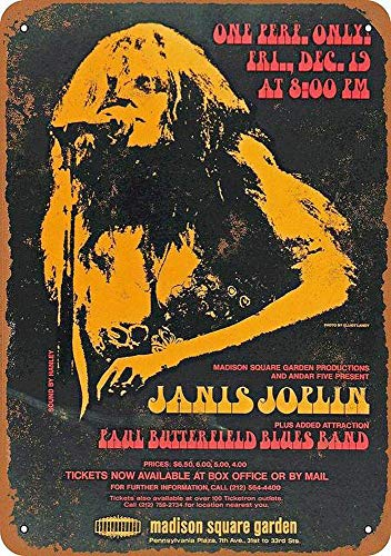 Janis Joplin at Madison Square Garden Blechschild Retro Blech Metall Schilder Poster Deko Vintage Kunst Türschilder Schild Warnung Hof Garten Cafe Toilette Club Geschenk