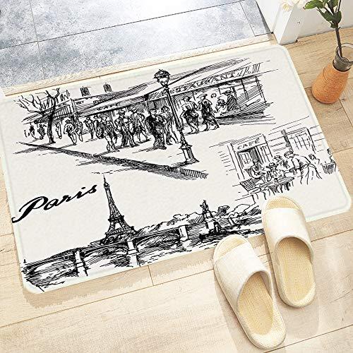 Tapis de Bain Antidérapant,Décor de la Tour Eiffel, Paris Sketch Style Cafe Restaurant ,Absorbant Tapis de Salle de Bain pour Sortie de Douche Baignoire Toilette Cuisine en Lavable en Machine60x100 cm