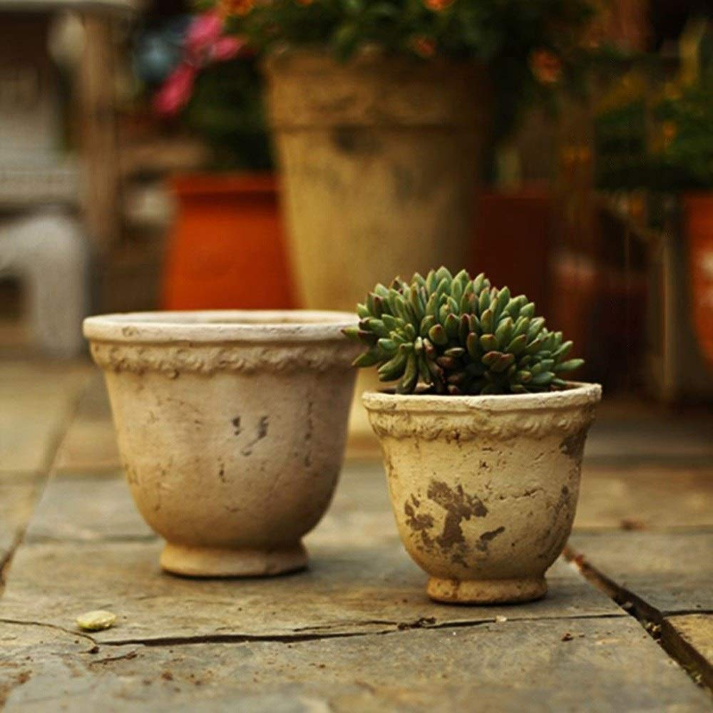 ZHKY Europea clásica Redonda Retro Creativo Patio Planta Maceta suculenta jardín Vintage decoración Maceta Antigua cerámica Oficina Escritorio balcón jardín macetas (tamaño : S): Amazon.es: Hogar