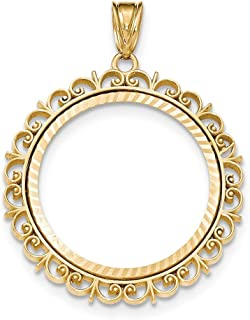 14k Yellow Gold Prong 1/2ae Bezel Necklace Pendant Charm Coin Holders/bezel American Eagle Fine Jewelry Gifts For Women For Her