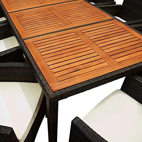 Deuba Poly Rattan Sitzgruppe Garten 8 Breite Stühle 7cm Auflagen Gartentisch Akazie Holz 8 Personen Gartenmöbel Set Braun - 6