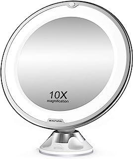 BEAUTURAL Grossissant Miroir Maquillage 10x avec Lumières LED 1 Joint à Bille d'attache Ajustable à 360° Miroir Cosmétique...