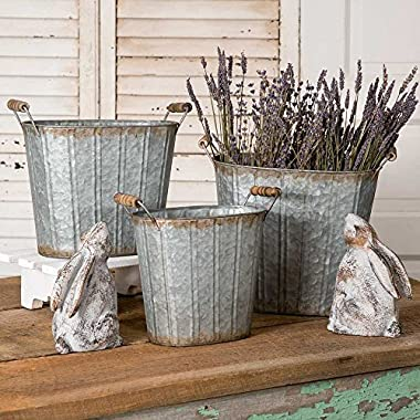 Rustic Farmhouse Decor Tapered Oval Pails with Wood Handles Set of 3.