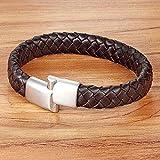 NA HJPAM Diseño Simple Especial Serpentina Pulsera y Brazalete de Cuero Genuino Acero Inoxidable 3 Colores Cadena de Serpiente para Hombres Joyas