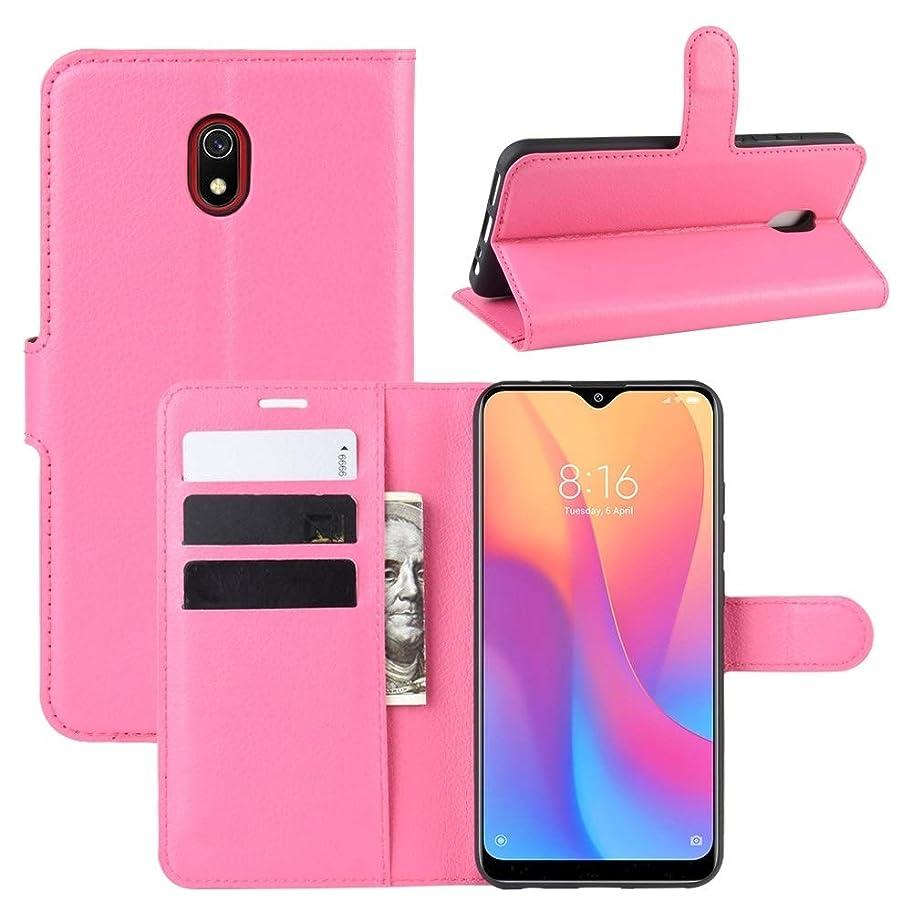 正規化ただやるヨーロッパ財布&ホルダー&カードスロットを持つ小米科技Redmi 8Aライチテクスチャ水平フリップレザーケースのための携帯電話ケース brand:TONWIN (Color : Rose red)