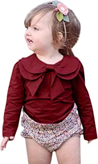 Toddler Baby Girl Clothes Long Sleeve Bowknot T-Shirt Basic Plain Top Tees