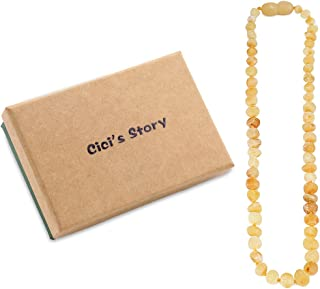 Baltic Amber Necklace (Butterscotch Raw)(13 Inches) Unisex - 100% Certified Authentic Baltic Amber