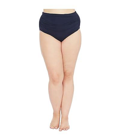 LAUREN Ralph Lauren Plus Size Bias Tribal Ikat Shirred High-Waisted Pant (Navy) Women