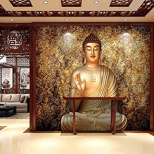 ZJJBH Tapete Wandbild Selbst Kleben (B)450X(H)300Cm Buddhas Dreidimensionale Goldene Buddha-Statuen Tapete Großes Foto Kinderzimmer 3D Wandbild Restaurant Wohnzimmer Schlafzimmer Tv Hintergrund Prinz