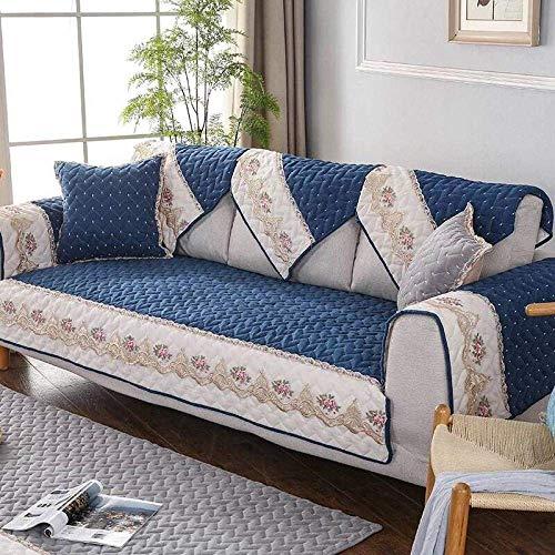 Loveseat Sofabezüge Navy 35 * 63 Zoll, rutschfeste Spitze Wohnzimmer Stickerei Sofa Bank Couch Bezug, Schonbezug Sessel Canap Sofa Handtuch