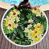 BCDJYFL Impresas Toalla De Playa Hojas De Flores Toallas De Playa Microfibra Toallas De Yoga para Exteriores Suaves Y Absorbentes.-Diámetro: 150Cm
