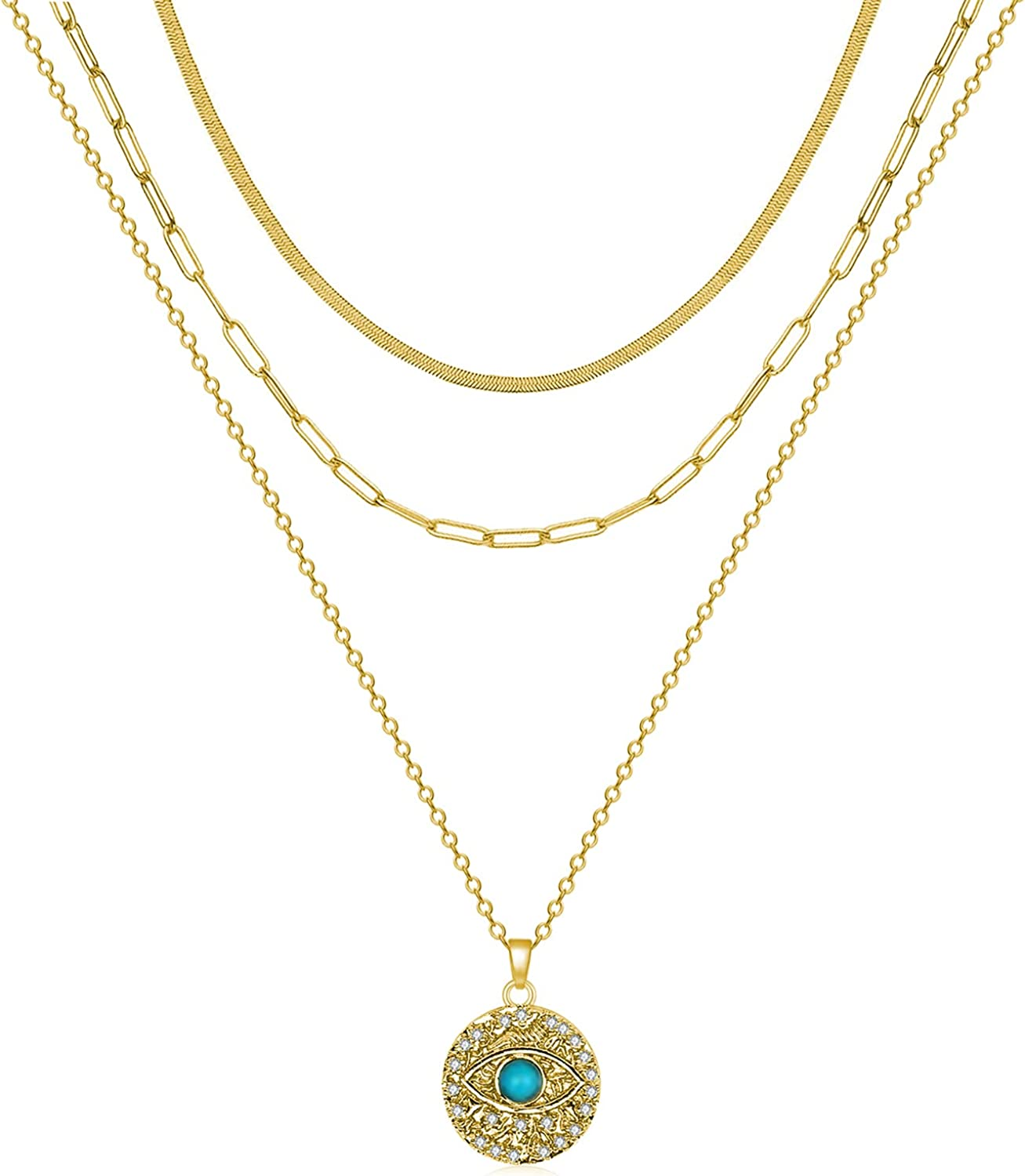Layered Evil Eye Necklaces for Women Gold Plated Ojo Turco Necklace Multilayer Snake Paperclip Chain Choker Necklaces for Girls