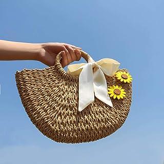 YLGB Stroh Crossbody Handtasche,Stroh gewebte Damentasche, handgewebte Strandtasche-Beige Trompete und Band Sonnenblume_gr...