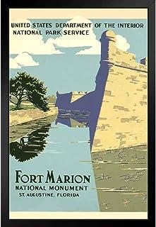 ポスター - フォートマリオンフロリダ国定公園レトロビンテージWPAプロジェクトアートパネル 印象派 壁掛け 絵画 - 28*23cm(額縁を送る)