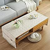 Linen Coffee Tablecloth with Pockets, Rectangular Tea Table Cloth Cover Washer Dryer Top Covers Fridge Dust Cover, Table Runner-I-50x145cm(20x57inch)