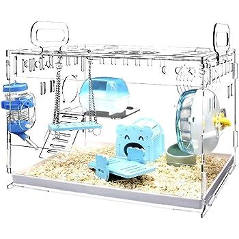 YOKITOMO ハムスターケージ7点セット ハムスターハウス トレーデザイン お掃除しやすい! 透明通気 2階デザイン 持ち運びやすい エコなアクリル製 (ブルーセット)